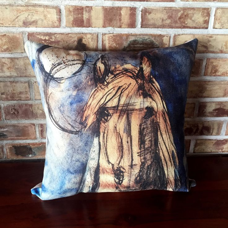 Rustic Modern Decor Blue Horse Linen Pillow Cover by HorseEyeDesigns on Etsy