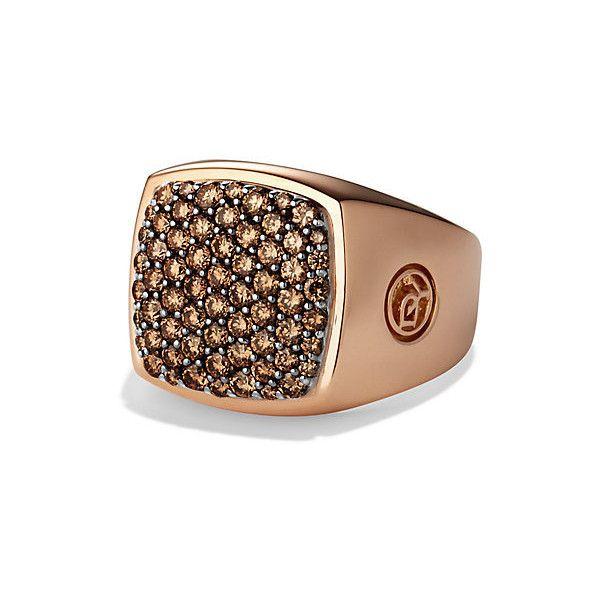 18-karat rose gold. Pavé cognac diamonds, 1.76 total carat weight, 16 x 16mm. Ring, 7-19mm wide.