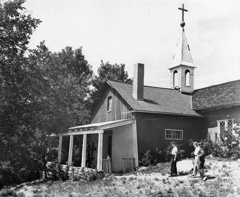 """In the 1860s, needing a place to escape the rigors of his bishopric, Jean Baptiste Lamy built a modest lodge near Santa Fe in Tesuque. Called """"Villa Pintoresca,"""" it had two small rooms and a tiny chapel, along with lush gardens and orchards. It's now a National Historic Landmark within the Bishop's Lodge resort. This is how it looked in 1942. Palace of the Governors Photo Archives HP.2007.20.368."""