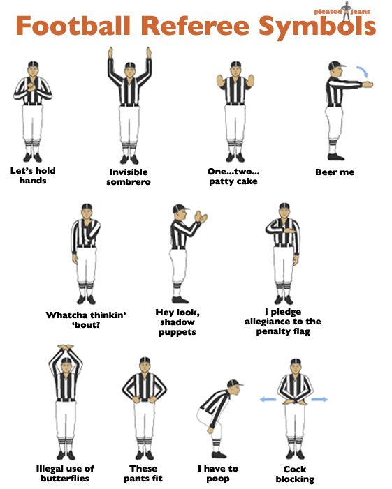 Football Referee Symbols Just in time for football season. So everyone knows what's going on