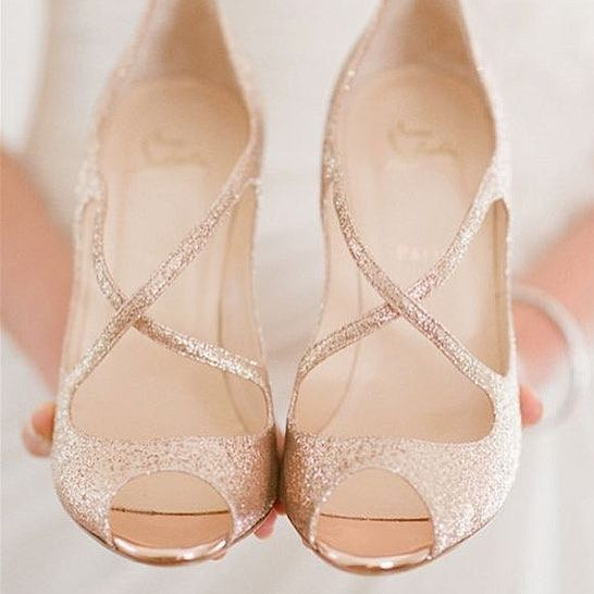 Bling Wedding Ideas Gold Louboutin Shoes For