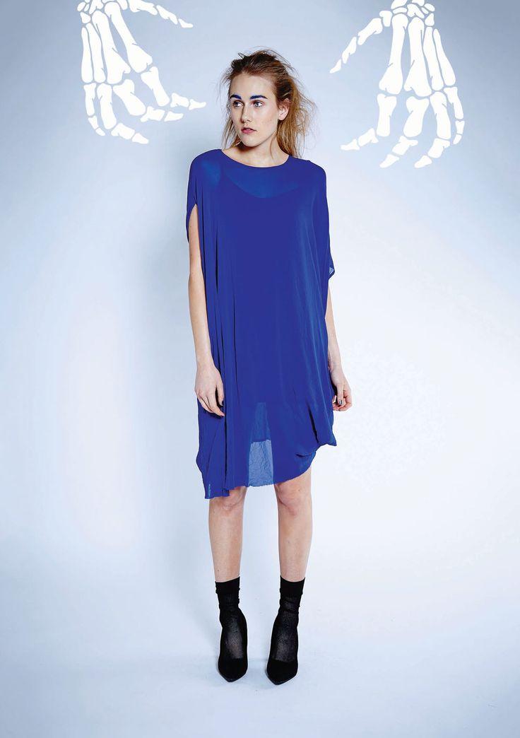 Maaike Clothing | New Zealand Object Dress - Silk in Electric Blue