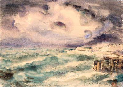 Max Schwimmer (1895 - Leipzig - 1960) Stürmische See, 1930er Jahre. Aquarell…