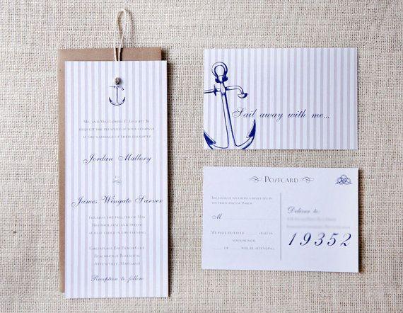 Anchor Nautical Wedding Invitations by DawnCorrespondence on Etsy, $465.00