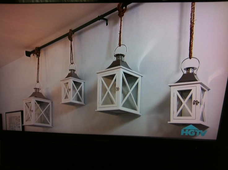 Decorative Wall Hanging Rods : Lanterns hung on curtain rod wall decor diy home