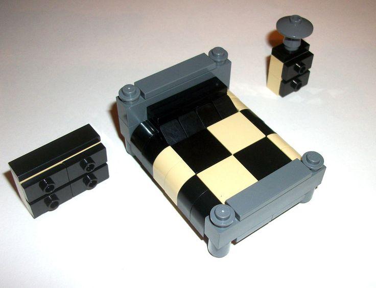 lego furniture bedroom set black tan 4moc lego