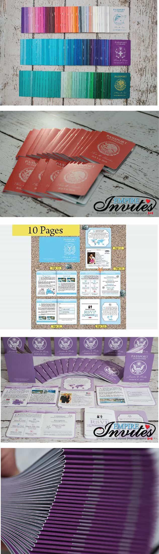 LOVE!! - 100 percent customizable by www.empireinvites.ca! Destination Passport Wedding Invitations 3 (4x5inch -10 Page)
