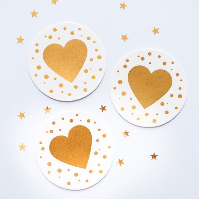 'Confetti Heart' GOLD Letterpress | 2 Love Birds #stationery #coasters #party #gold #letterpress #drink
