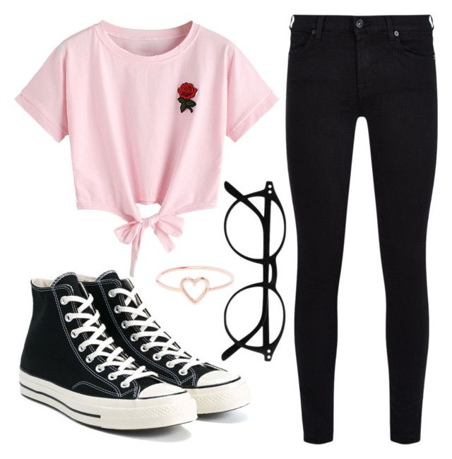 """Pink 'N Roses"" by liaperezmorales on Polyvore featuring WithChic, Converse, 7 For All Mankind and Love Is"