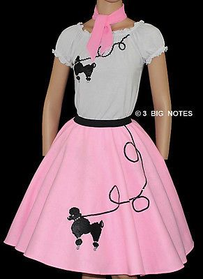 """3-Pc Pink Poodle Skirt Outfit _ Adult Size SMALL _ Waist 25""""- 32"""" _ Length 25"""""""