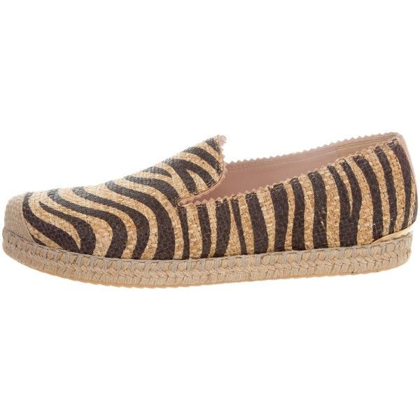Pre-owned Stuart Weitzman Catalan Raffia Espadrilles (305 PEN) ❤ liked on Polyvore featuring shoes, sandals, neutrals, zebra sandals, zebra print sandals, zebra shoes, stuart weitzman sandals and black embellished sandals