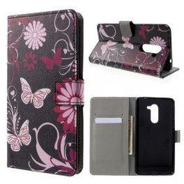 Huawei Honor 6X kukkia ja perhosia puhelinlompakko