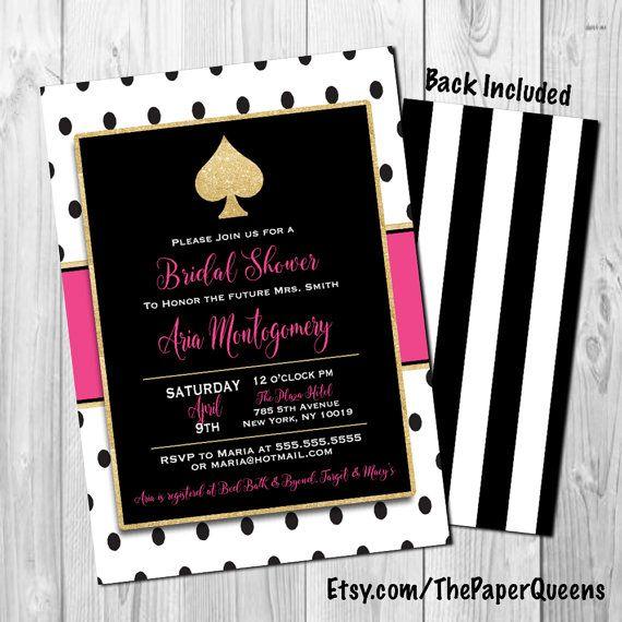 Kate Spade Theme Bridal Shower Invitation Wedding Invitations Weddings Khloe Kardashian Kim Kardashian Polka Dots Gold Glitter