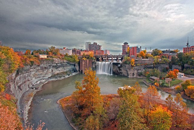 High Falls Rochester | Rochester NY.  The Genessee River flows through the downtown center of the city.