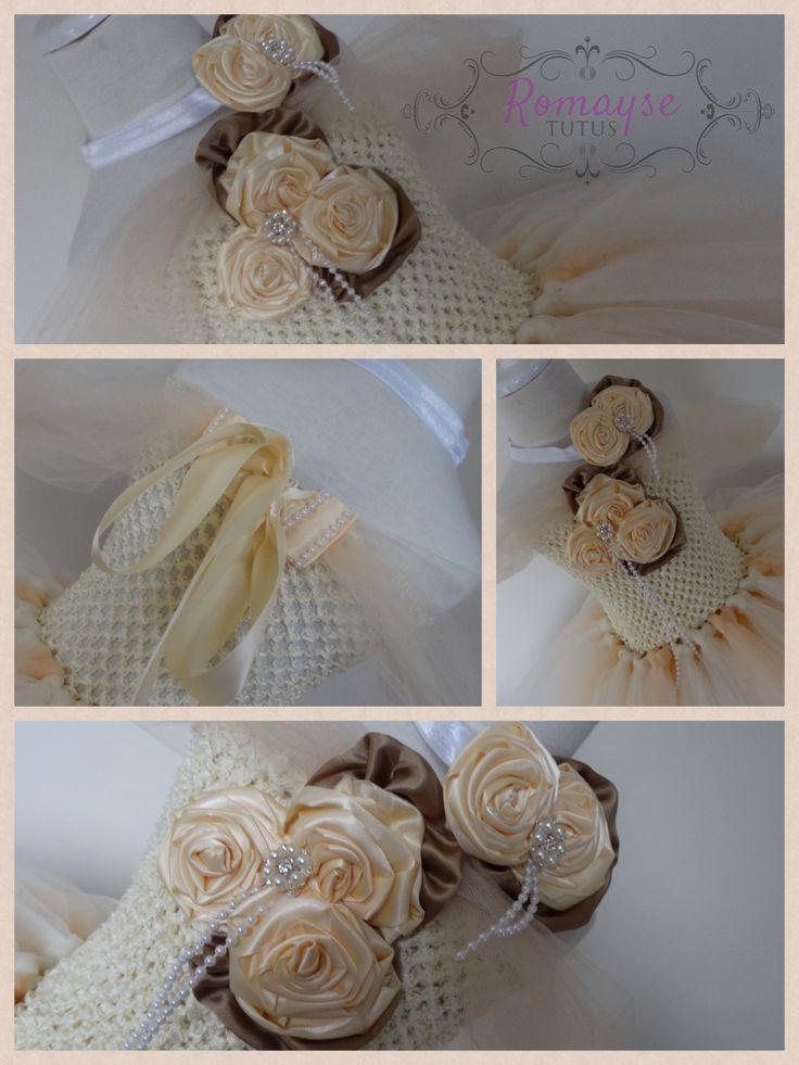 Full bodice tutu, flower girl dress, ivory and beige. Starting $140
