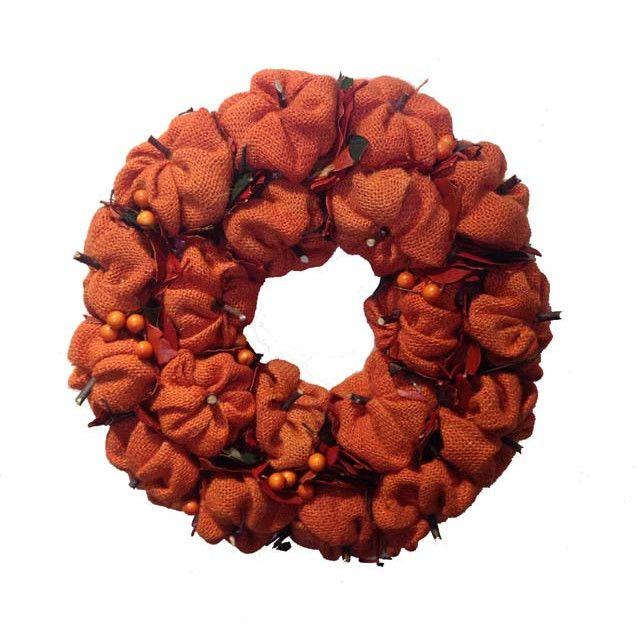 Mills Floral Burlap Pumpkin Wreath