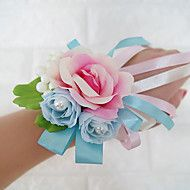 Wedding+Flowers+Free-form+Roses+Wrist+Corsages+Wedding+Party/+Evening+Blue+Pink+Satin+Imitation+Pearl+–+CAD+$+16.65