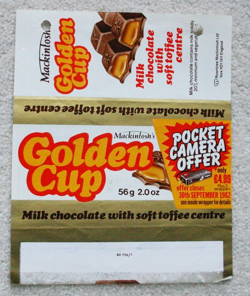GOLDEN CUP - 1981 MACINTOSH'S BRITISH UK Chocolate Candy Bar Wrapper