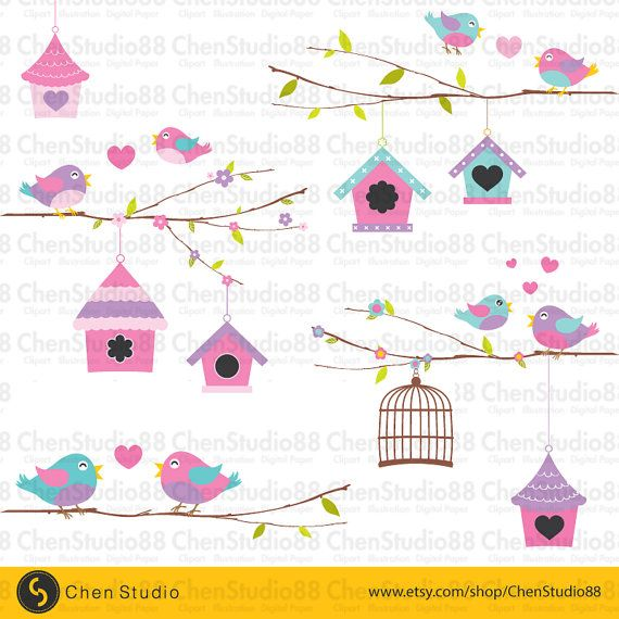 Love birds vector Digital Clipart Instant by ChenStudio88