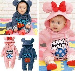 Retail babies romper newborn bodysuit romper baby boy outfit Baby girls boys Mickey Minnie Kids Rompers baby hoodie jumpsuits $10.99 - 11.99