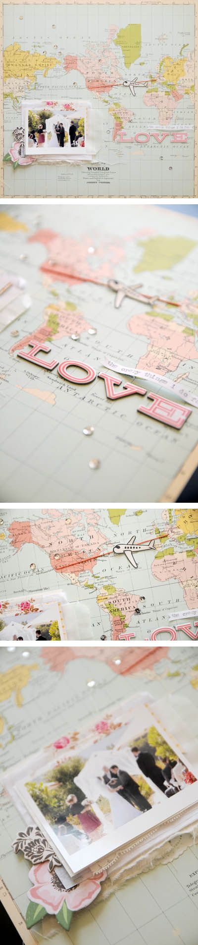 Scrapbook page using maps