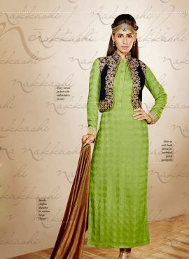 Green Indian Punjabi salwar kameez suit in gerogette