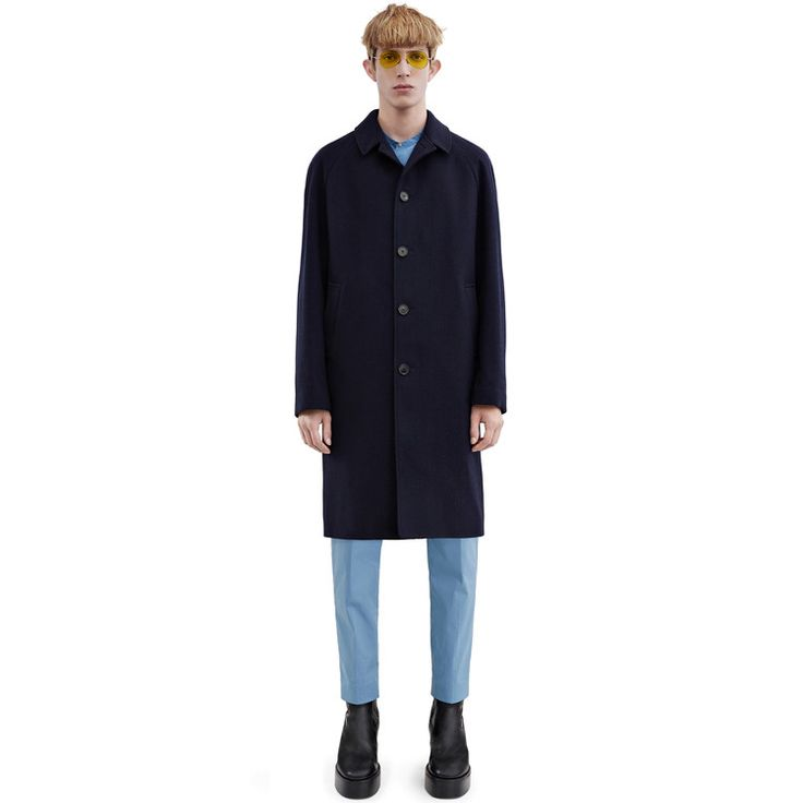 Acne Studios Marten navy is a smart raglan sleeve coat constructed of Shetland wool twill fabric.