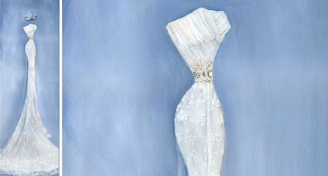 Anniversary – Oil Painting | Pretty as a Picture. Gorgeous sketch of wedding dress by Ailbhe Ryan of Pretty as a Picture. #weddingdress #weddingdresssketch #beautifuldress #prettyasapicture #weddingdressportrait