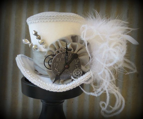 The White Rabbit in Pewter Mini Top Hat, Alice in Wonderland Mini Top Hat, Tea Party Hat, Steampunk Hat, Gear Hat, Mad Hatter Hat, Bridal