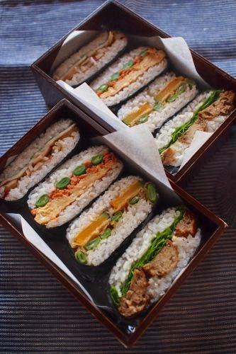 Rice Sandwich Bento おにぎらず弁当 (if you use Google Chrome, it can translate the page for you). (lotus root fried cheese slice + + shiso)   (egg + grilled salmon flakes + green beans)   (tempura green beans and pumpkin)   (lettuce + mayonnaise + teriyaki chicken dumpling