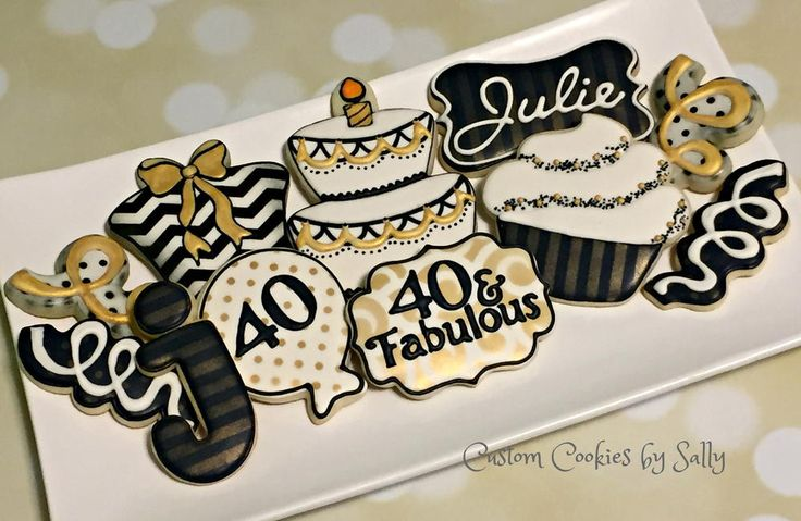 40th Birthday Cookies Decorated In 2019 Galletas