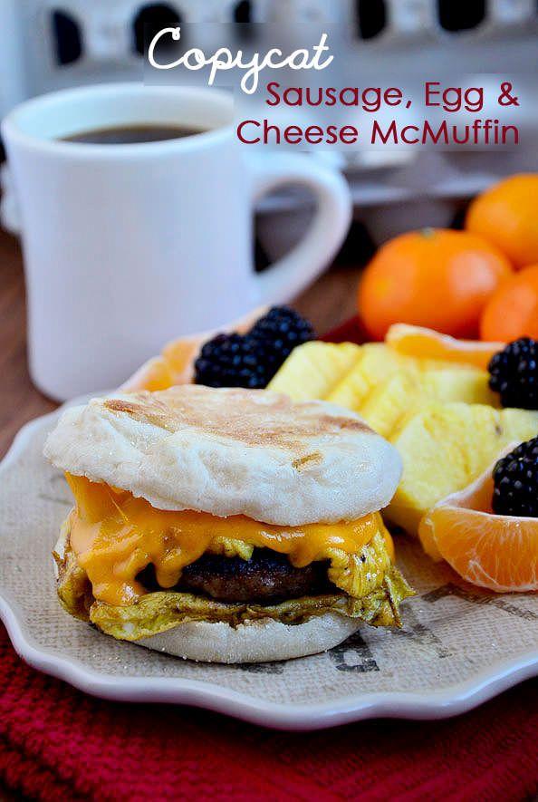 Copycat McDonalds Sasuage Egg and Cheese McMuffin #recipe #breakfast #breakfastrecipe @Ann Brincks Girl Eats | iowagirleats.com