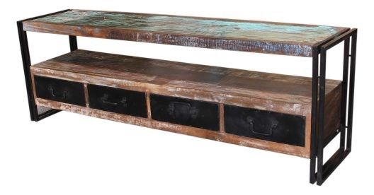 Recycled Timber and Metal TV Units.  4 Drawers and 1 Shelf