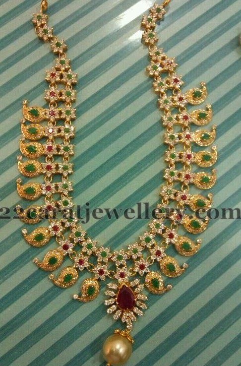 Jewellery Designs: Detachable Floral Mango Necklace