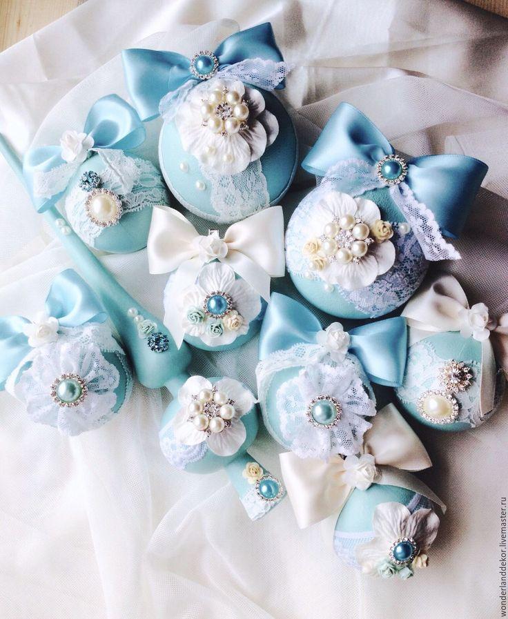 Купить Новогодние шары - бирюзовый, нежно-голубой, тиффани, Тифани, мятный, новый год 2016