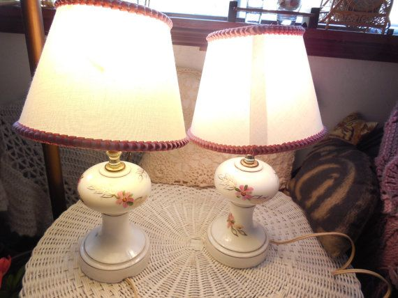 Beautiful Milk Glass Set of Pink and white Roses Lamps Great For Dresser /Shabby Chic /Victorian /NOT INCLUDED In Any Discount Sales