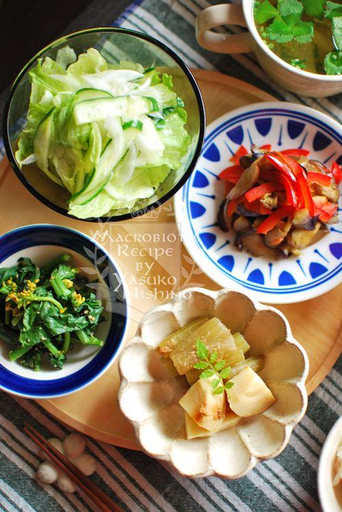 新筍、蕗、新生姜、菜の花、三つ葉。  春の食材で細胞活性化です。