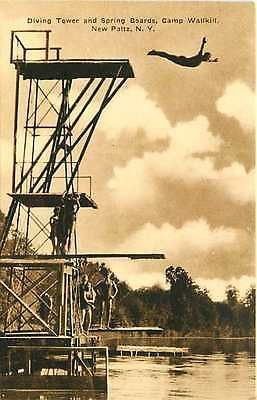 New Paltz New York NY 1950s Camp Wallkill Diving Tower Antique Vintage Postcard