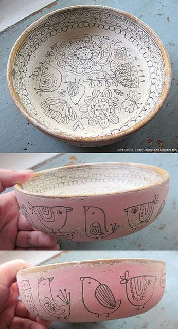 Doodle Bowl - Flora Chang - Happy Doodle Land - this item is sold but the other bowls are all as awesome.