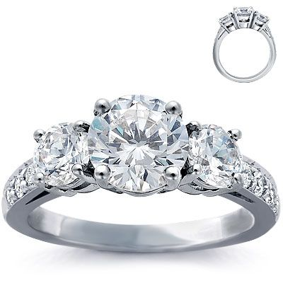 Engagement Ring: Three-Stone, Pave Diamonds, Platinum