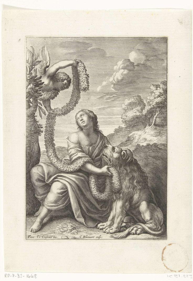 Cornelis Bloemaert (II) | Onschuld, Cornelis Bloemaert (II), 1640 | Een zittende vrouw krijgt een guirlande aangereikt van een engel boven haar in een boom. Zij heeft haar handen om de nek van een leeuw geslagen die links van haar zit. Illustratie voor het hoofdstuk Sotto Innocentia uit het boek Documenti d'Amore.