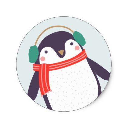 Jolly Penguin Classic Round Sticker - kids stickers gift idea diy decor birthday sticker children christmas gifts presents