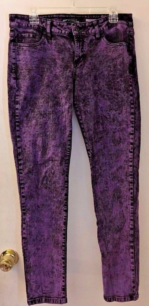 Hot Topic LOVESICK Purple Rain Acid Wash Skinny Jean Pants Womens Size 14 #LOVEsick #skinnyjeans