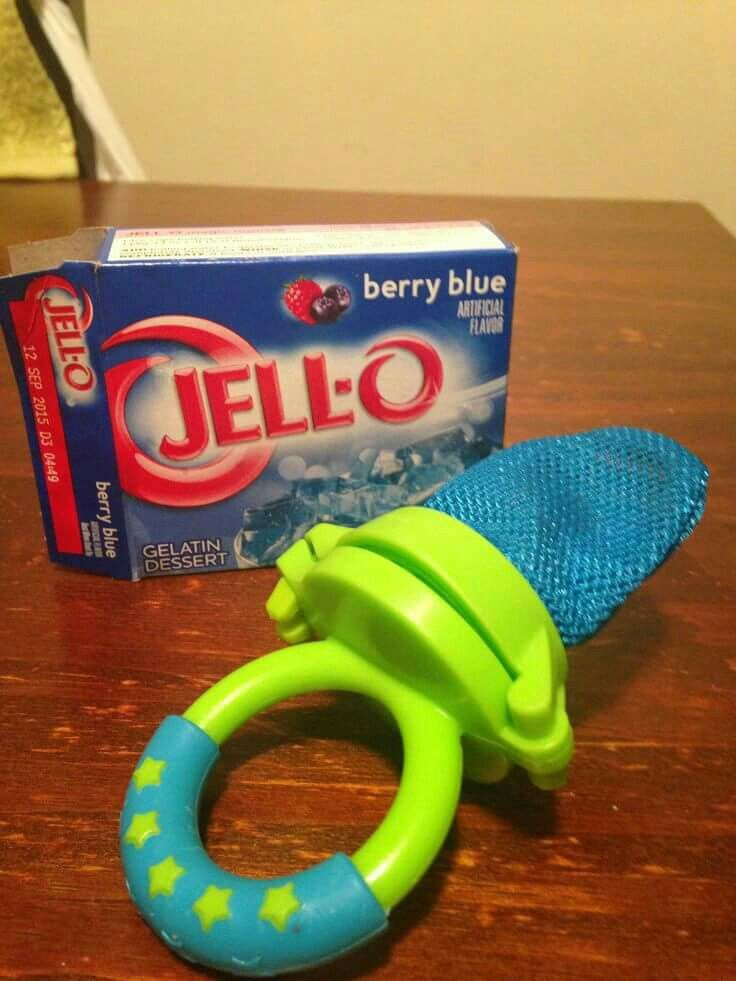 Freeze jello in a fresh food feeder for cranky teething babies! Neat idea