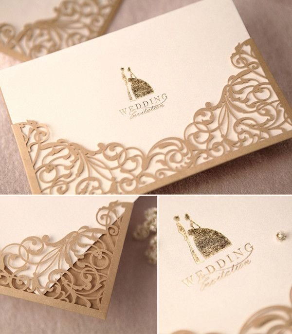 gold and cream laser cut elegant wedding invitations