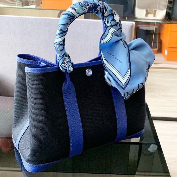 Hermes Garden Party 30 in Bleu electric / black Hermes