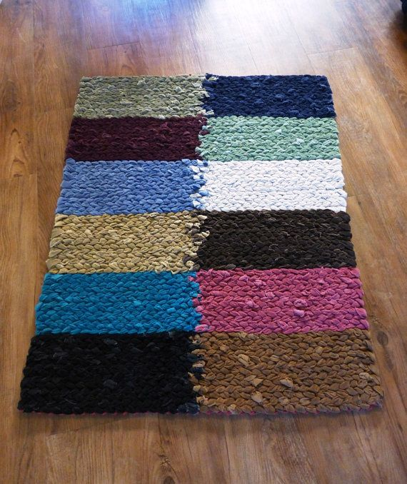 Color Block: Handmade Upcycled Twined Rag Rug By