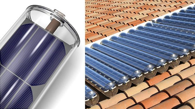 Solar Panel-In-a-Tube Generates Power and Hot Water At the Same Time  Solar photovoltaic cells and solar thermal collectors both capture the sun's rays. The first one turns the light into electricity, while the other turns it into hot water for heating. They usually battle for rooftop real estate, but Naked Energy has found a way to merge them both into a single solar solution.