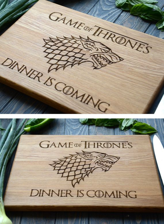 Father Gift Idea Game of Thrones Cutting Board Stark Family Dinner is coming Custom Engraved Wooden Kitchen Man Gift for Cook Daddy Chef