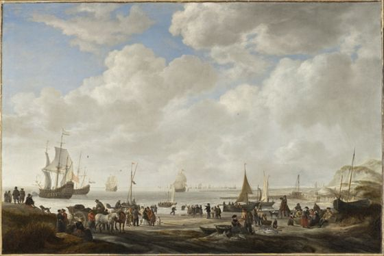 Simon de Vlieger (Holland, 1600/1601-1653), View of a Beach, 1646, Los Angeles County Museum of Art, Gift of Mr. and Mrs. Edward William Carter (AC1995.179.1)